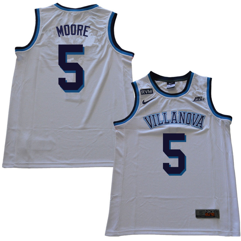 2019 Men #5 Justin Moore Villanova Wildcats College Basketball Jerseys Sale-White
