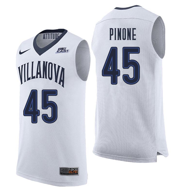 Men Villanova Wildcats #45 John Pinone College Basketball Jerseys Sale-White