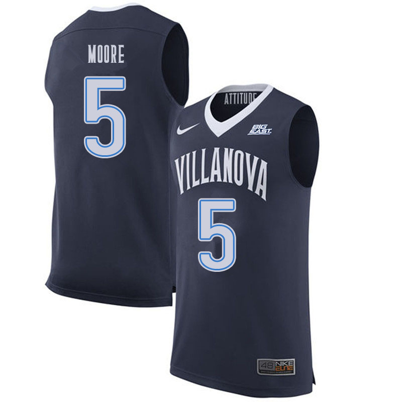 Men #5 Justin Moore Villanova Wildcats College Basketball Jerseys Sale-Navy