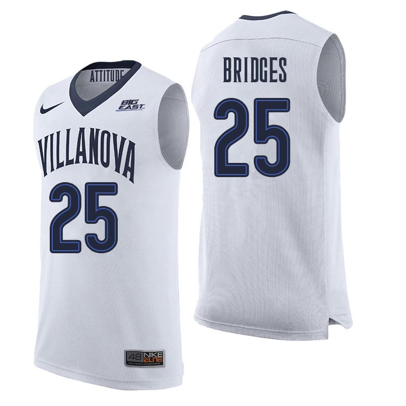 Men Villanova Wildcats #25 Mikal Bridges College Basketball Jerseys Sale-White