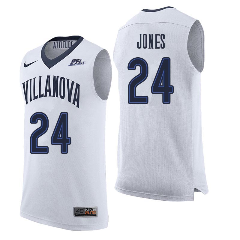 Men Villanova Wildcats #24 Wali Jones College Basketball Jerseys Sale-White