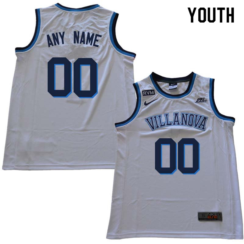 2018 Customs Youth Villanova Wildcats College Basketball Jersey Sale-White