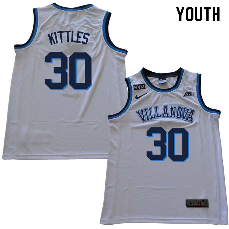 2018 Youth #30 Kerry Kittles Willanova Wildcats College Basketball Jerseys Sale-White